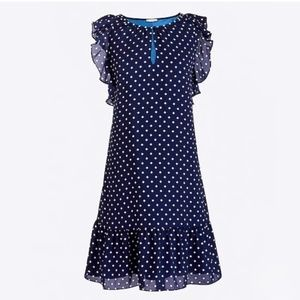 J. Crew Navy Polka Dot Flutter Sleeve Dress
